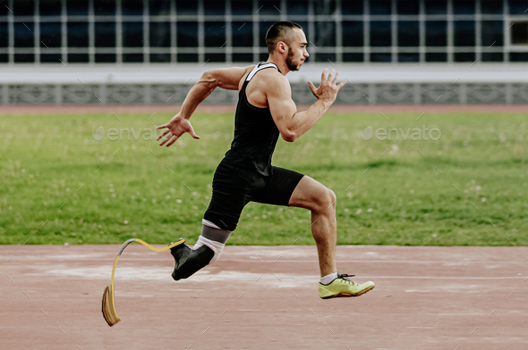 man athlete with prosthetic legs - Stock Photo - Images