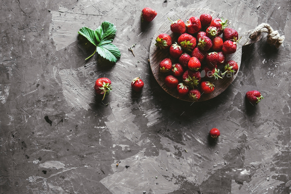 Strawberries on a gray background. Healthy and fresh food, fruit - Stock Photo - Images
