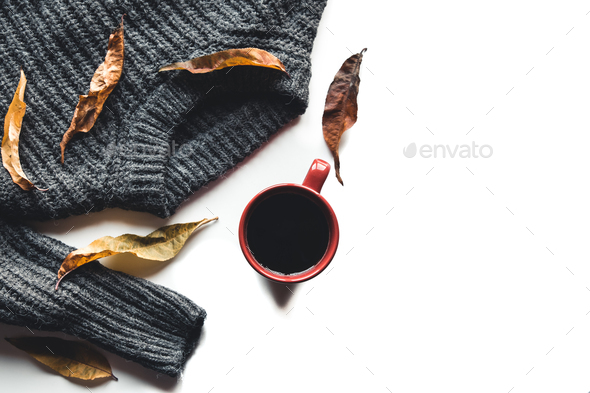 Autumn composition. Cup of coffee, sweater on white background. Autumn, fall concept - Stock Photo - Images