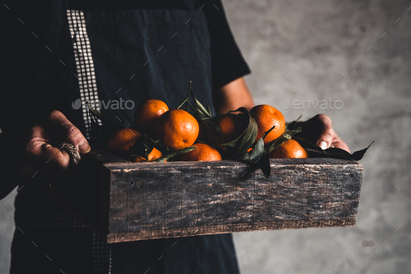 A box of tangerine in male hands on a gray background. Farmer, eco fruits, food. PNOV2019 - Stock Photo - Images