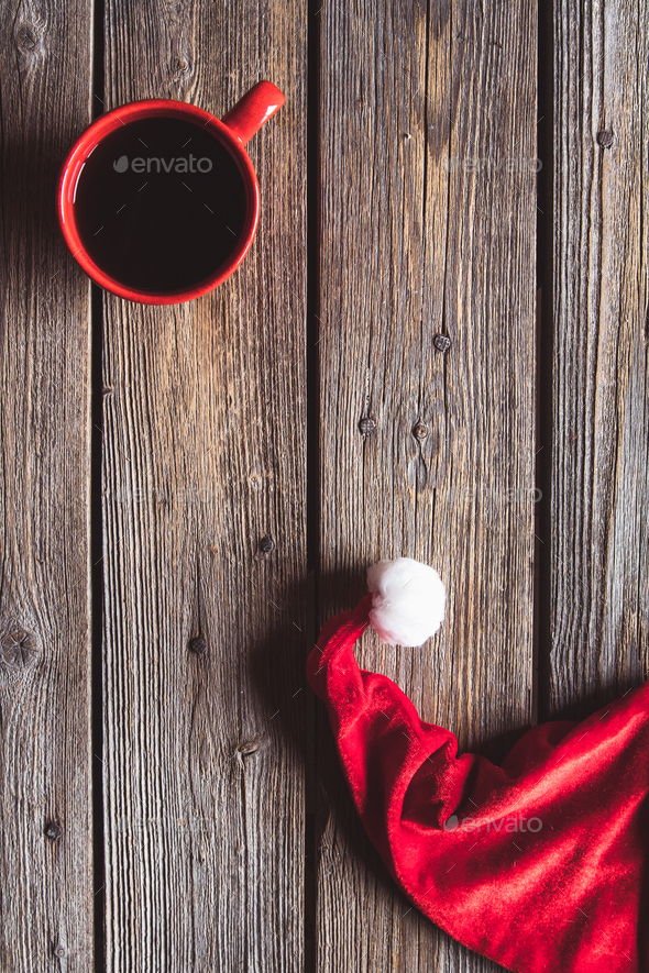 Christmas Santa Claus Hat Hanging On Wood Wall, Xmas Concept, Decoration Grunge Wooden Background - Stock Photo - Images