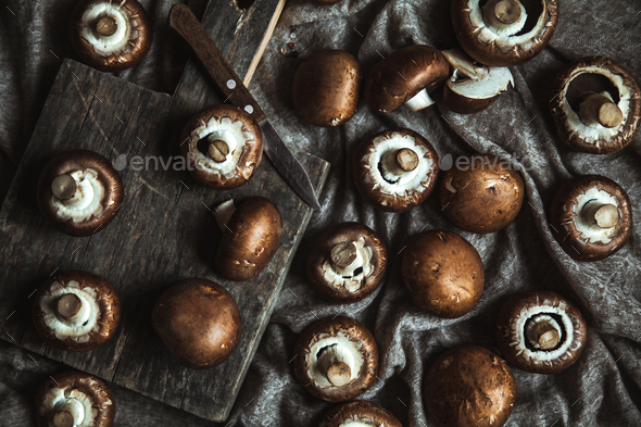 Royal mushrooms on a kitchen towel. Cooking of dishes - Stock Photo - Images