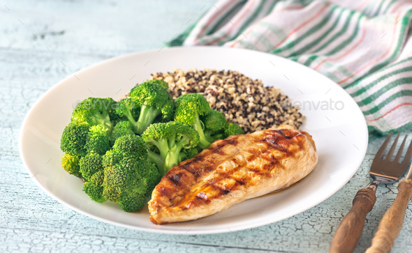 Grilled chicken with broccoli and quinoa - Stock Photo - Images