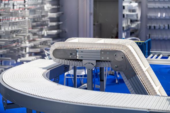 Industrial Manufacturing Conveyor Belt Roller Track System - Stock Photo - Images