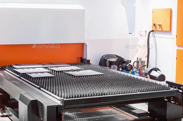CNC Servo Drive Turret Punch Press Metal Machine - Stock Photo - Images