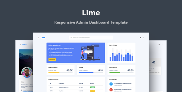 Lime - Responsive Admin Dashboard Template by stacks
