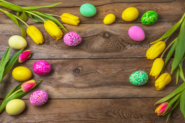 Easter rustic background with floral decorated eggs - Stock Photo - Images