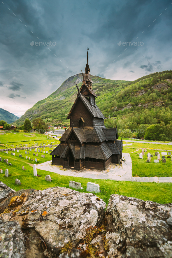 Borgund, Norway. Famous Landmark Stavkirke An Old Wooden Triple Nave Stave Church In Summer Day - Stock Photo - Images