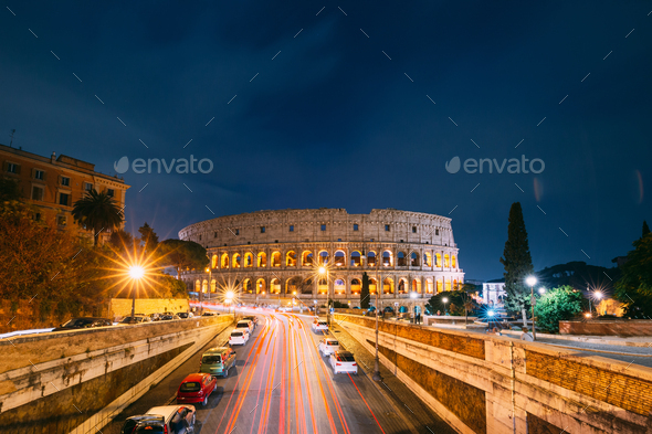 Rome, Italy. Colosseum Also Known As Flavian Amphitheatre In Evening Or Night Time - Stock Photo - Images