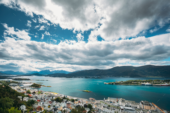Alesund, Norway. Amazing Natural Bright Sunset Dramatic Sky In Warm Colours Above Alesund Islands - Stock Photo - Images