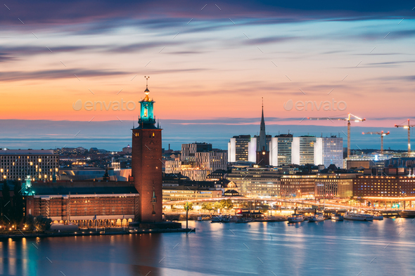 Stockholm, Sweden. Scenic Skyline View Of Famous Tower Of Stockholm City Hall And St. Clara Or Saint - Stock Photo - Images