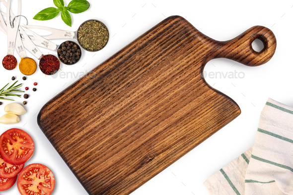 Composition with cutting board and ingredients for cooking - Stock Photo - Images