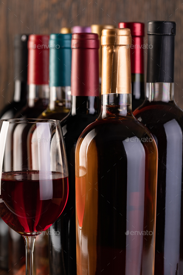 Row of vintage wine bottles - Stock Photo - Images