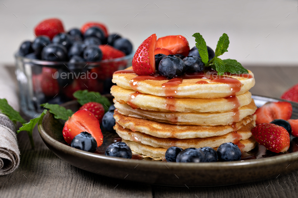 Pancakes with fresh berry - Stock Photo - Images