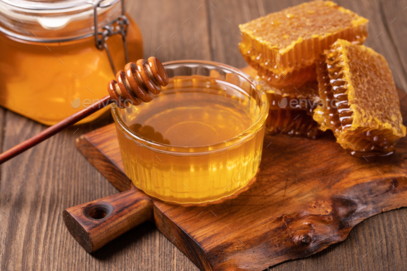 Honey and Honeycomb slice - Stock Photo - Images