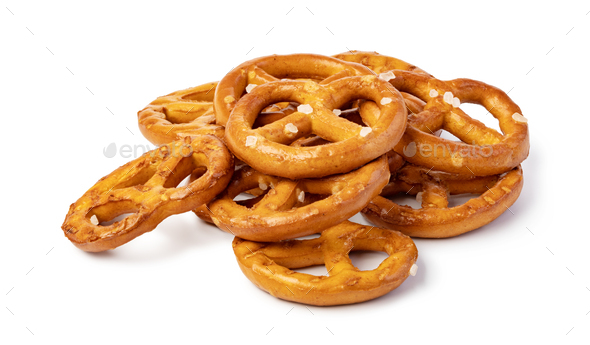 Salt Pretzels On White - Stock Photo - Images