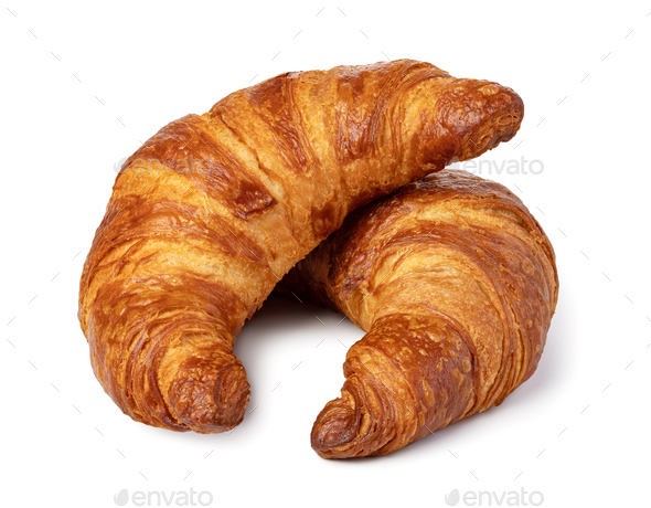 fresh croissant on white - Stock Photo - Images