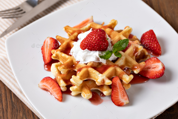 viennese waffles with strawberry - Stock Photo - Images