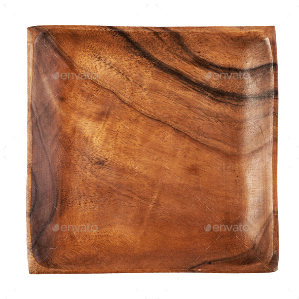 wooden plate on white background - Stock Photo - Images
