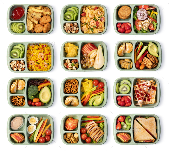 Lunch box with delicious food on a white background - Stock Photo - Images