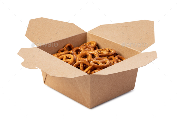 Salt Pretzels in box - Stock Photo - Images