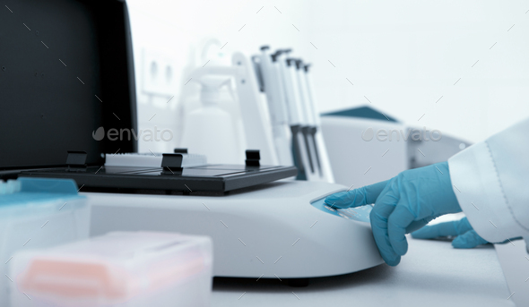 Close up of machine for testing different samples - Stock Photo - Images