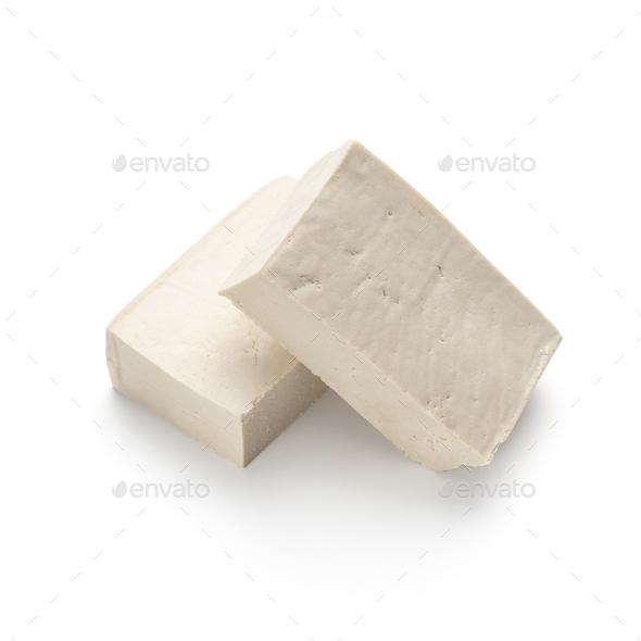 Blocks of tofu isolated on white background - Stock Photo - Images