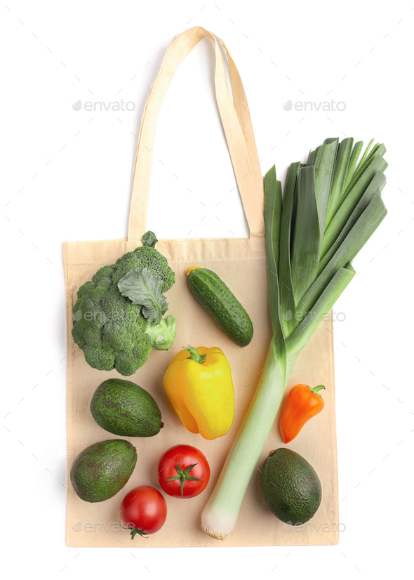 Fresh and healthy vegetables on eco cotton bag - Stock Photo - Images