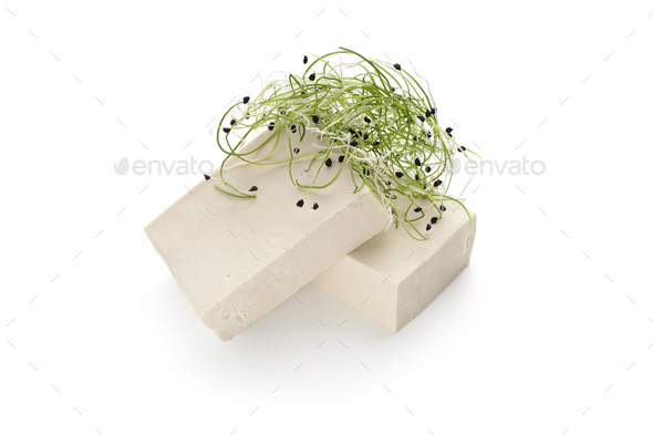 Asian soybean tofu cheese with fresh microgreen - Stock Photo - Images
