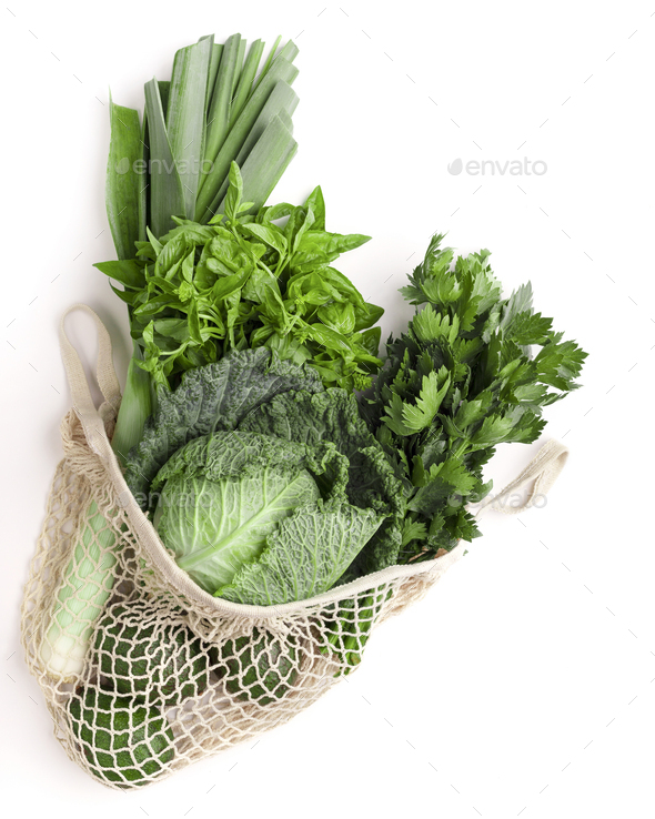 Green vegetables for healthy nutrition in net shopping bag - Stock Photo - Images