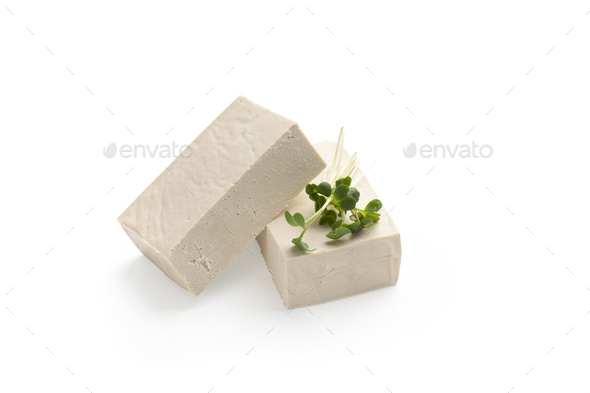 Blocks of Tofu cheese with microgreen leaves - Stock Photo - Images