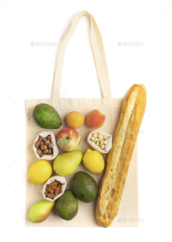 Healthy products composition on reusable cotton bag - Stock Photo - Images