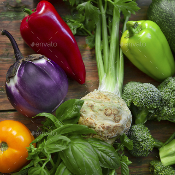 Close up of fresh and natural vegetables on wood - Stock Photo - Images