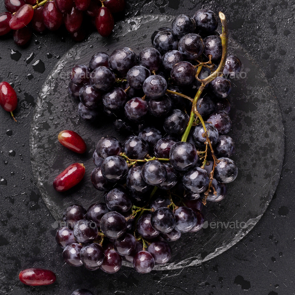 Close up of eco juicy dark blue grape on black - Stock Photo - Images