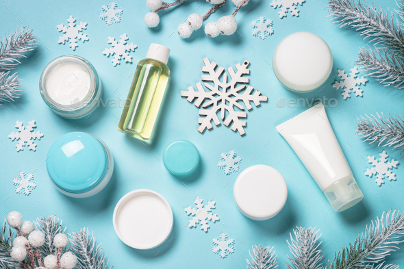 Natural cosmetics for winter on blue - Stock Photo - Images