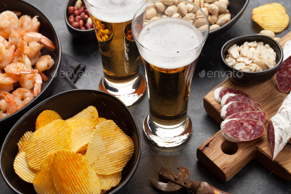 Draft beer and snacks - Stock Photo - Images