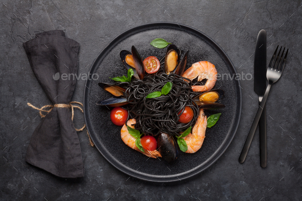 Black seafood spaghetti pasta - Stock Photo - Images