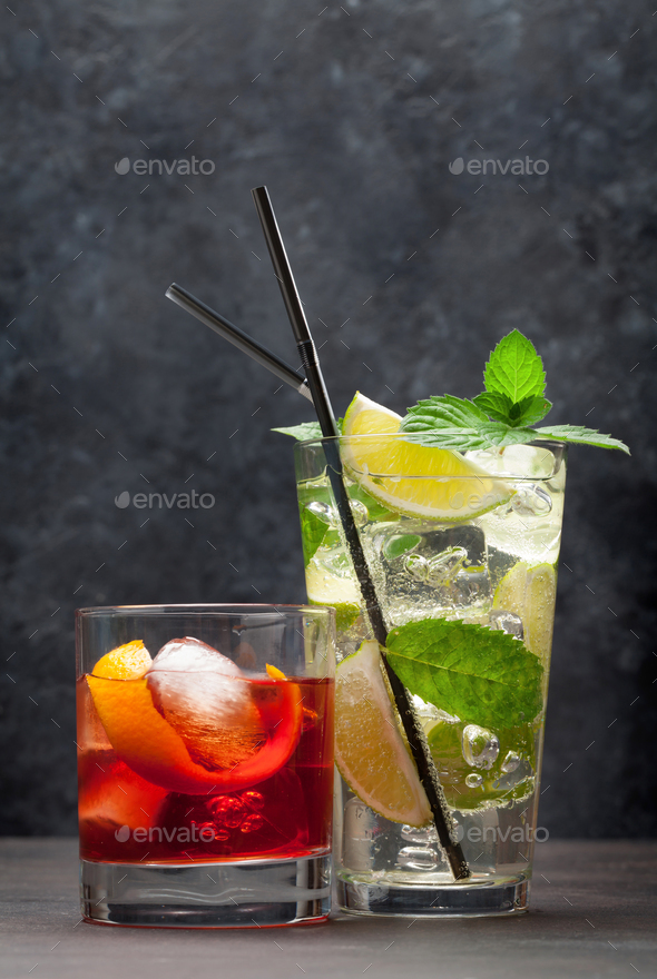 Two classic cocktail glassescopy space - Stock Photo - Images