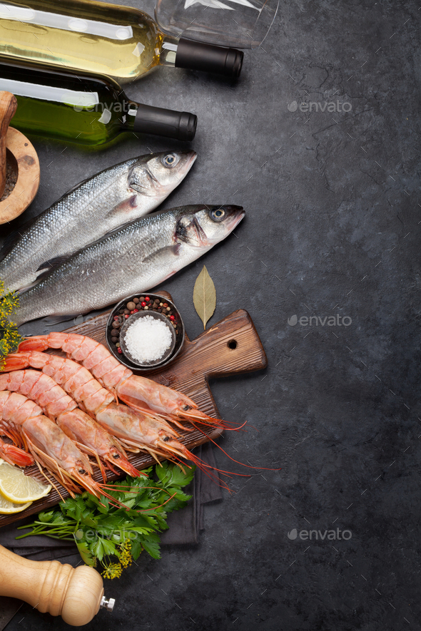 Fresh seafood. Trout fish and langostino shrimps - Stock Photo - Images