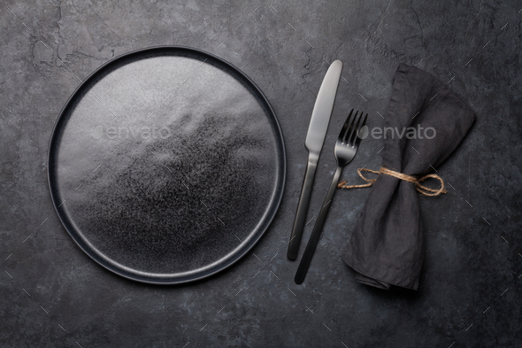Empty plate, fork and knife - Stock Photo - Images