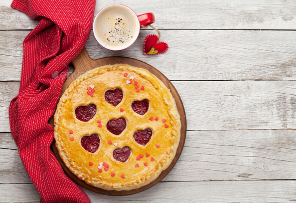 Raspberry cake for Valentine's Day with hearts - Stock Photo - Images