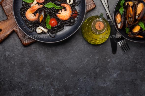 Black seafood spaghetti pasta - Stock Photo - Images