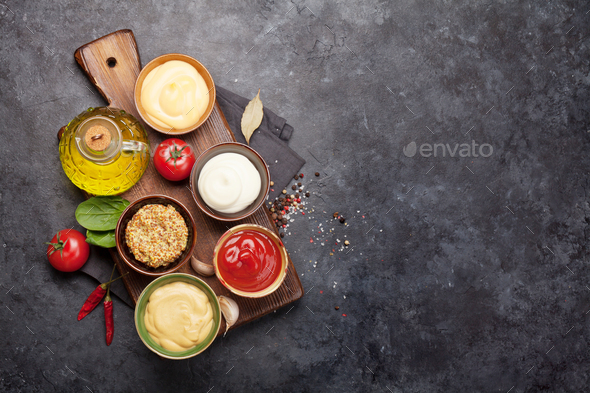 Set of various sauces. Popular sauces in bowls - Stock Photo - Images