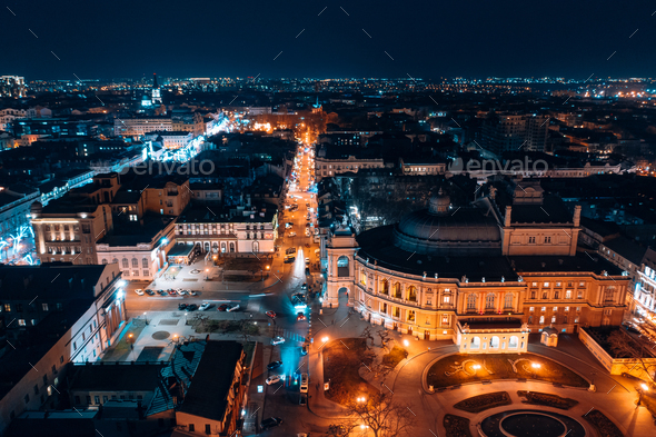 Night view of the opera house in Odessa - Stock Photo - Images