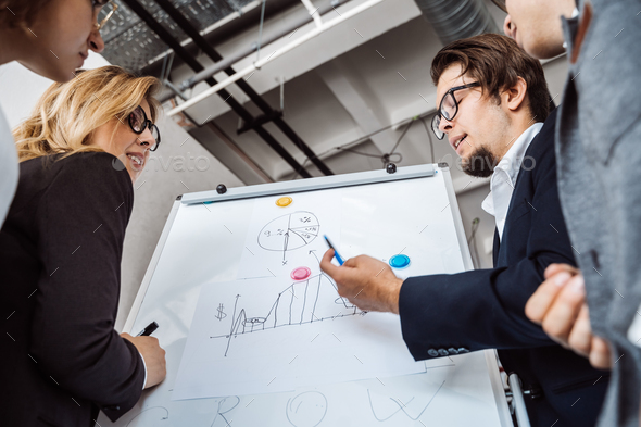 Businesspeople with whiteboard discussing strategy in a meeting - Stock Photo - Images