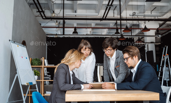 Business people having discussion, dispute at meeting or negotiations - Stock Photo - Images