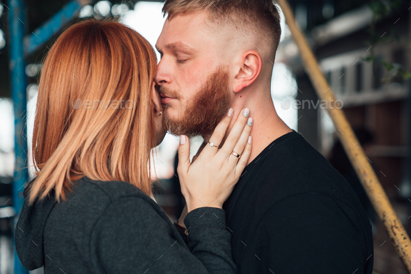 Happy couple posing for the camera. Close view - Stock Photo - Images