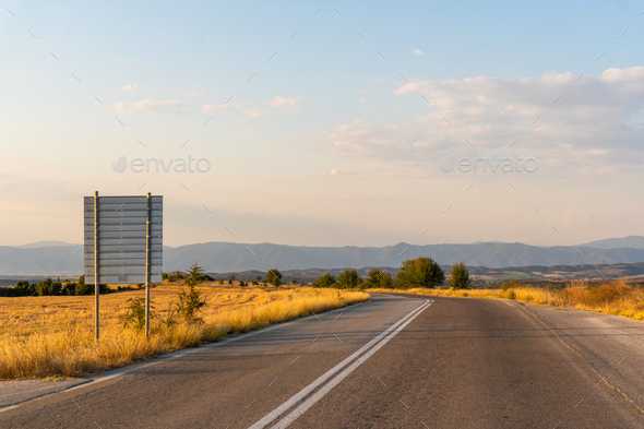 Road shield by the road in Greece - Stock Photo - Images