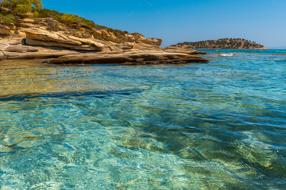 Rocky coast and sea in Greece - Stock Photo - Images