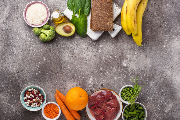 Food rich in folic acid - Stock Photo - Images